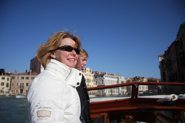 Janet on the Grand Canal, Venice www.educated-traveller.com