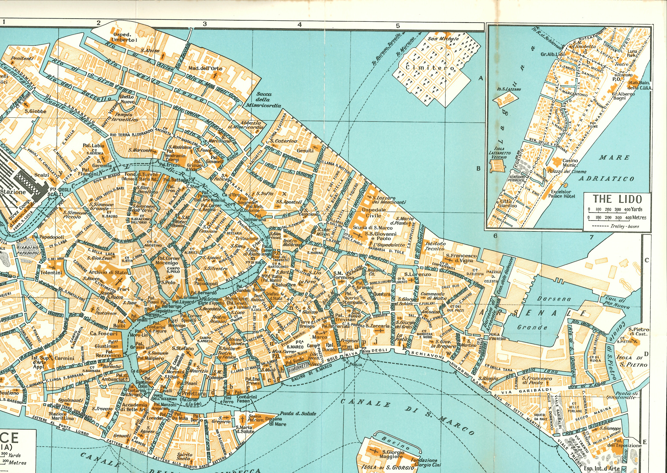 Venice - historic map with Isola San Giorgio