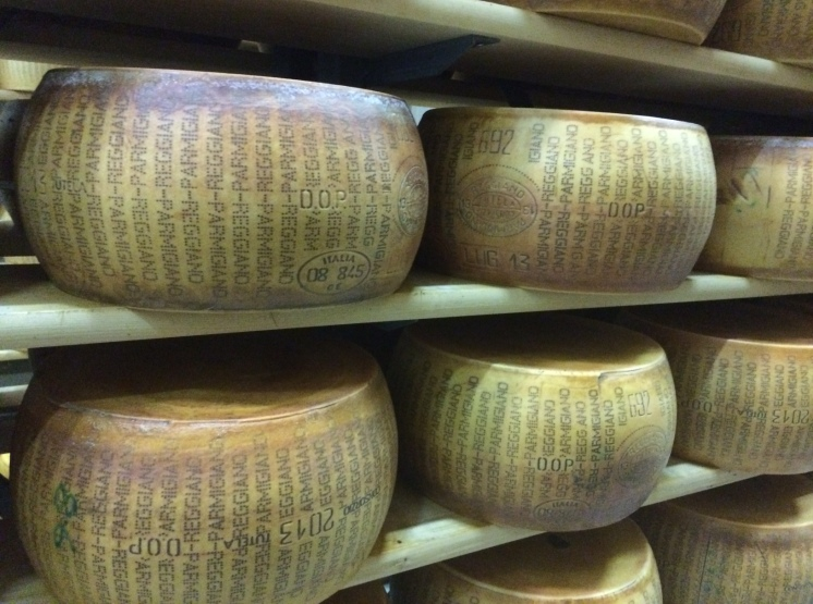 When the earthquake struck here in 2012 - these huge cheeses were shaken from the shelves.