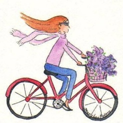 A girl on a bike......Mary Lou Peters (artist) - a whimsical portrait by my friend Mary Lou Peters