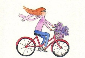 A girl on a bike......