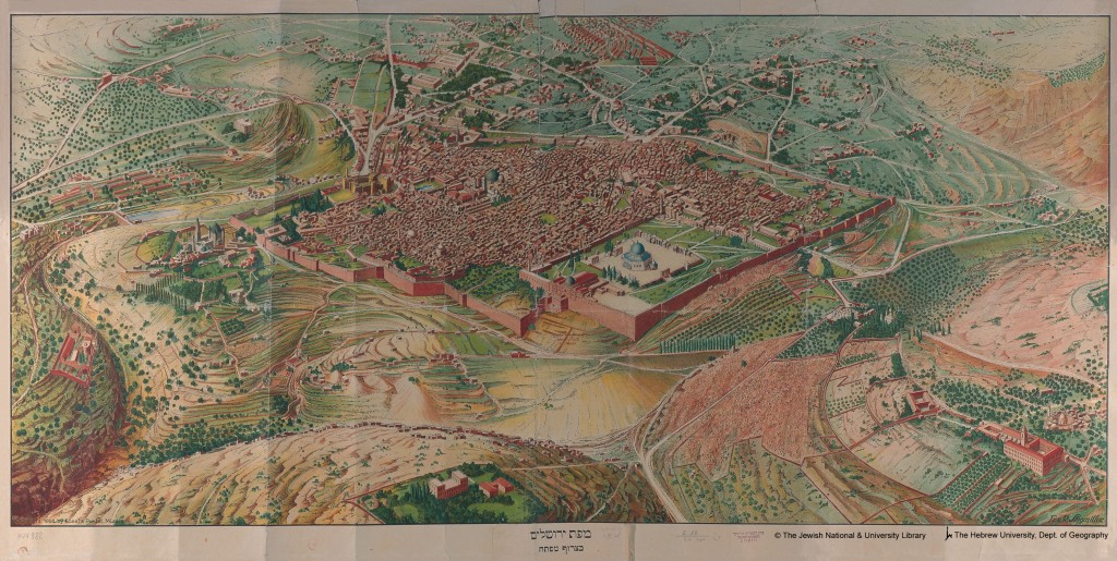 Jerusalem topographical map, showing the hills around Jerusalem - Jerusalem Map from the Hebrew University, Dept of Geography