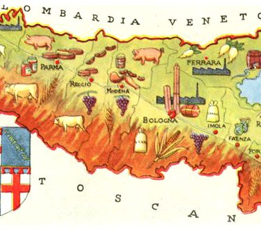 Emilia Romagna is famed for Parmesan Cheese, dairy products, balsamic vinegar and delicious prosciutto ham