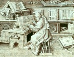 A medieval scribe at work in the writing room 'Scriptorium' of a monastery or abbey. Manuscripts were painstakingly written out by hand, and often beautifully illustrated.