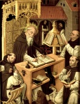 St Jerome in the scriptorium. This was the place in an abbey or monastery where important books would be written out, by hand.