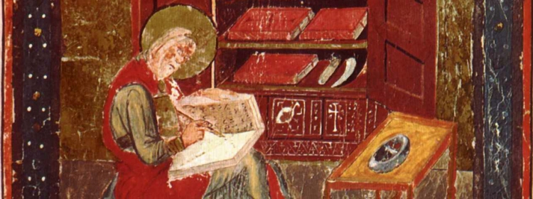 Bede at work in the scriptorium