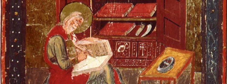 Bede at work in the scriptorium
