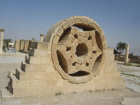 Carved stone window - Hisham's Palace