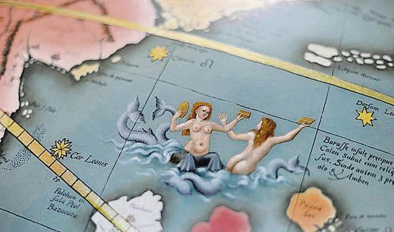Himmels Globus - detail of the oceans, Baroque Library of St Gallen, Switzerland