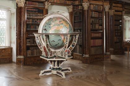 Globe and wooden cradle - St Gallen Baroque Library, Switzerland
