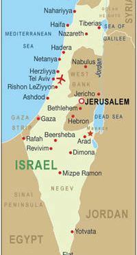 This map of Israel shows the West Bank - its borders have already been eroded by the Israeli government