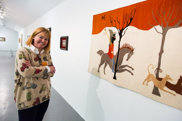 Hunting Scene 1953-8 wool wall hanging. Janet enjoying the visit to Tate Liverpool