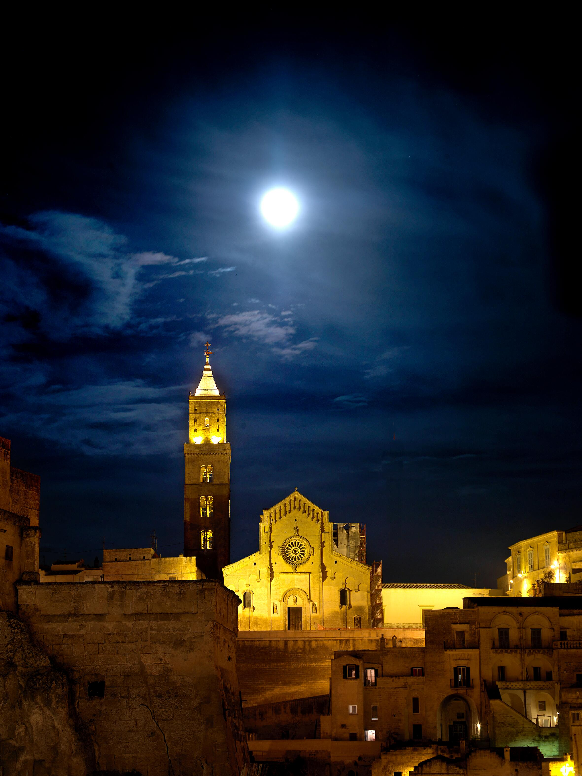 Full moon over the basilica, Matera - 2019 City of Culture