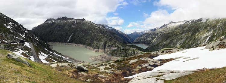 Panorama looking down from the Grimsel Pass road