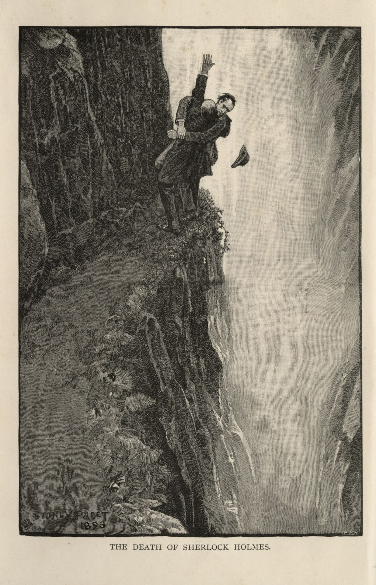 Sherlock Holmes and Professor Moriarty at the Reichenbach Falls, Switzerland (1893) by Sidney Paget - from Arthur Conan Doyle's story 'The Final Problem'