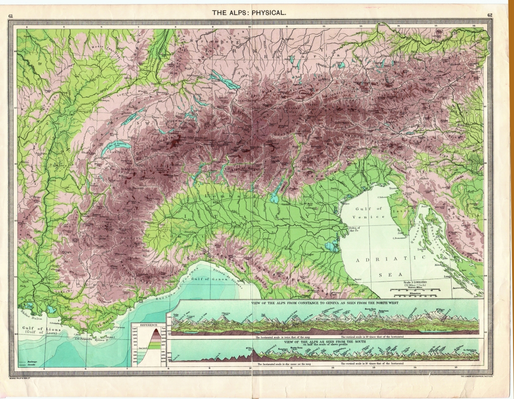 Relief Map of the Alps - 1905