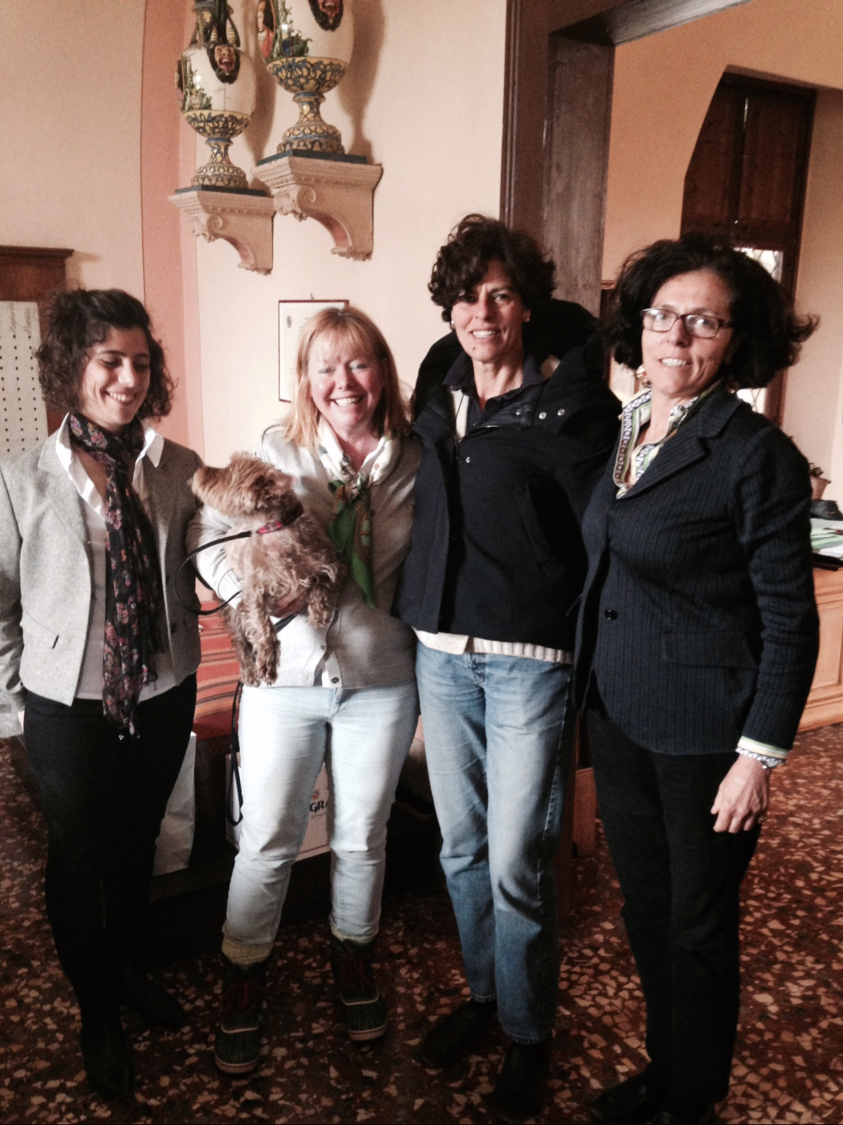 Ilaria, Janet, Sasha, Carla, Giovanna at Villa Angarano - wine tasting and fun!