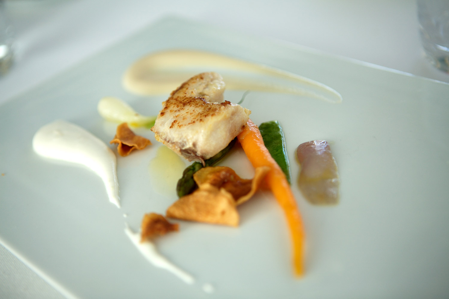 Scallop and roasted vegetables with lemon foam