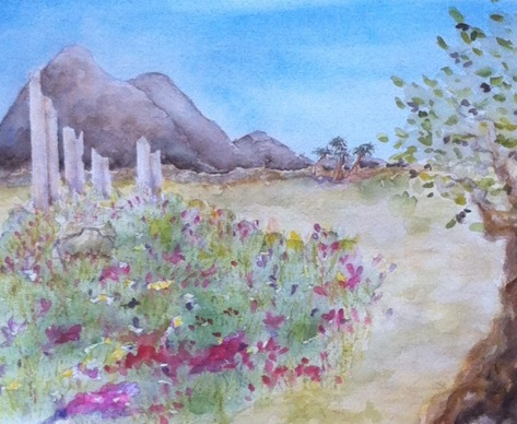 Mary Lou's water colour of 'Spring Flowers' in the desert