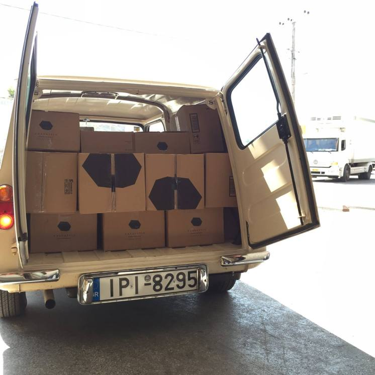 Unloading the latest Vassaltis wines.....