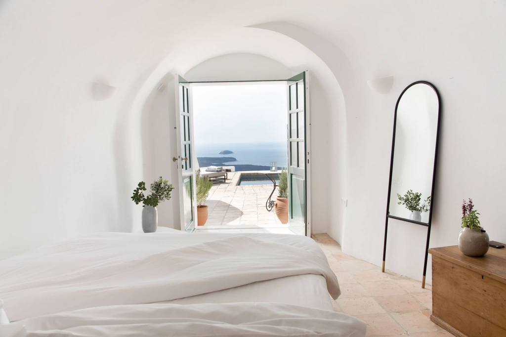 Vasilicos - stunning view of caldera - from oh so chic bedroom