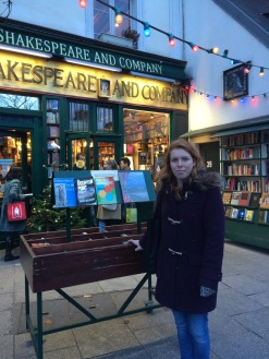 Lucy at Shakespeare and Co, Paris