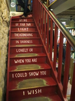 A staircase in the bookshop. Poetry by Hafiz