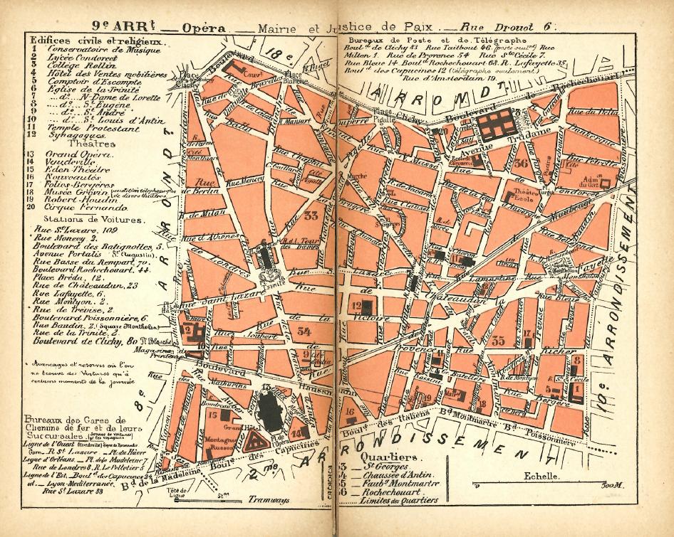 1889 map of Paris arrondissement