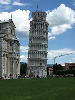 The Leaning Tower of Pisa with the Cathedral in view
