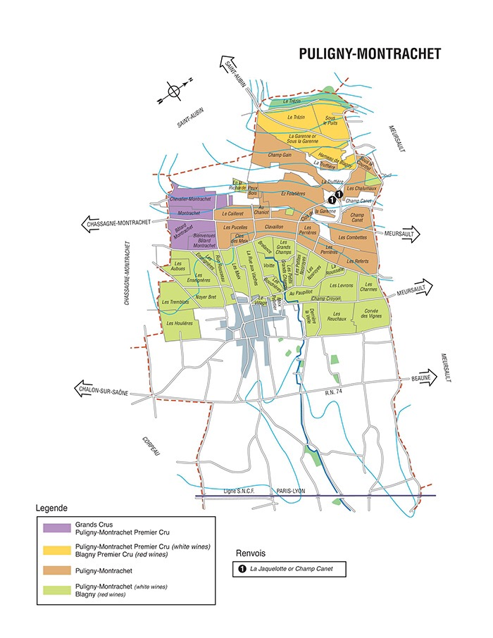 Puligny Montrachet and the different wine growing parcels of land