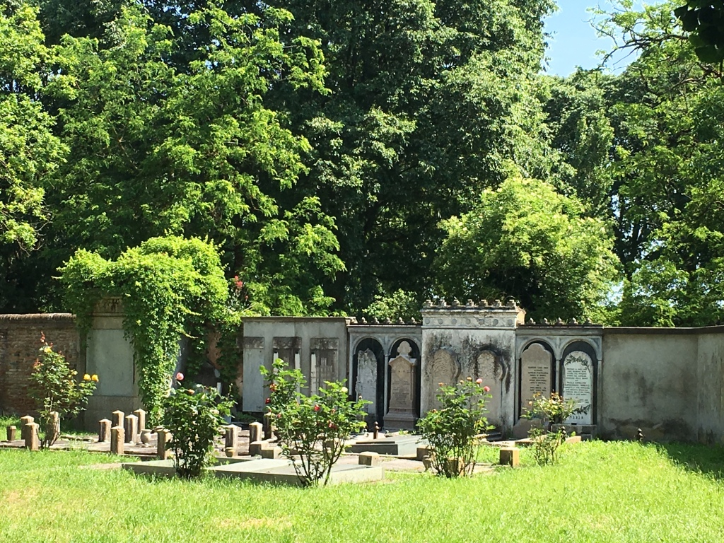 Ferrara - Elegant temples and tombs line the walls in the Jewish Cemetery