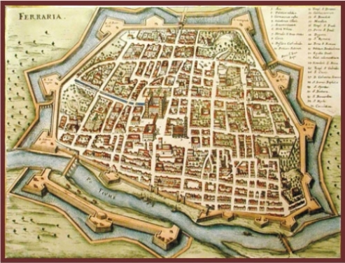 Medieval map of the city of Ferrara, Italy