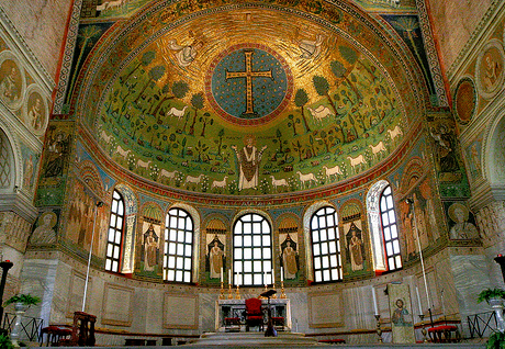 Sparkling mosaics in the apse at Sant' Apollinare in Classe - dating from 7th century. Byzantine craftsmanship at its best...