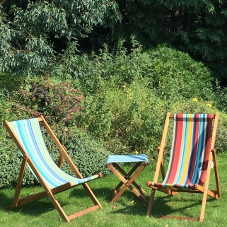 Deck chairs in the garden