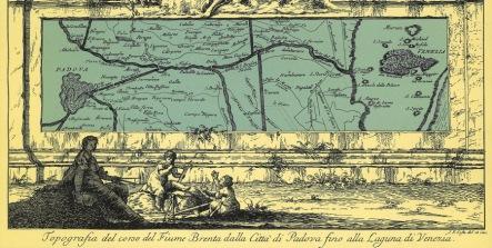 Historic Map showing Naviglio di Brenta - from Padova to Venezia. The Burchiello was a historic boat that sailed the Brenta