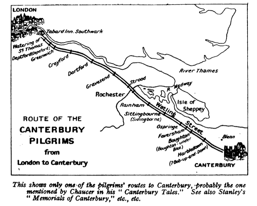 Canterbury - route of the pilgrims