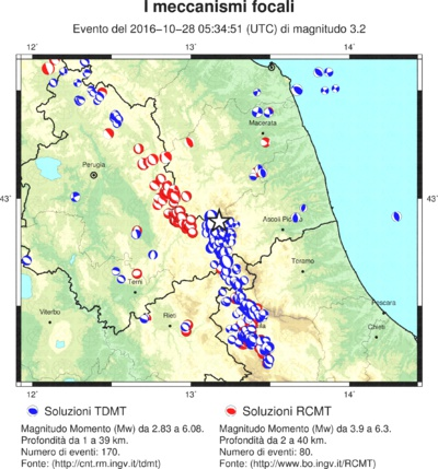 INGV map showing frequency of earthquakes in Central Apennini mountain range. October 2016