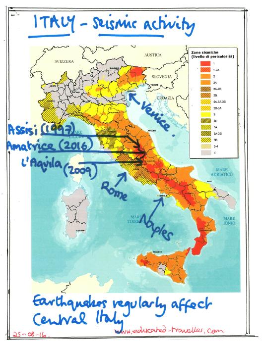 Italy - seismic activity - framed