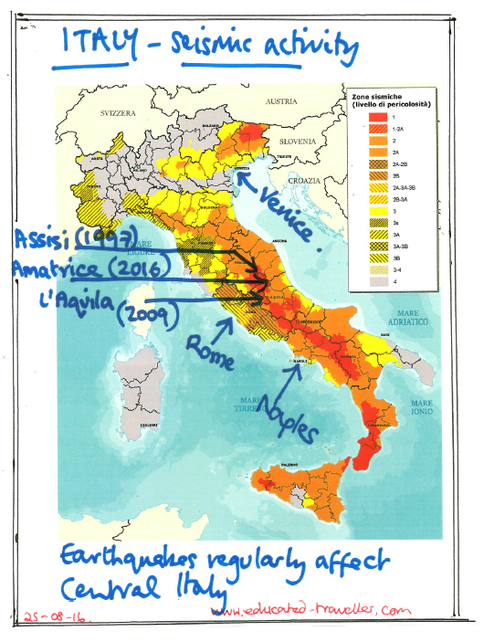 Map Of Central Italy Cities.Earthquakes In Italy The Educated Traveller