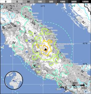 USGS Map shows tectonic activity focused on the small mountains of Umbria
