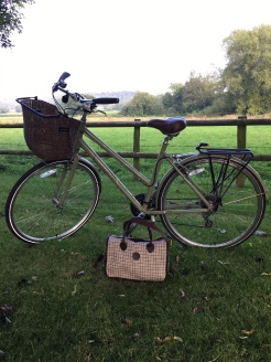 My trusty bike and Herdwick Handbag