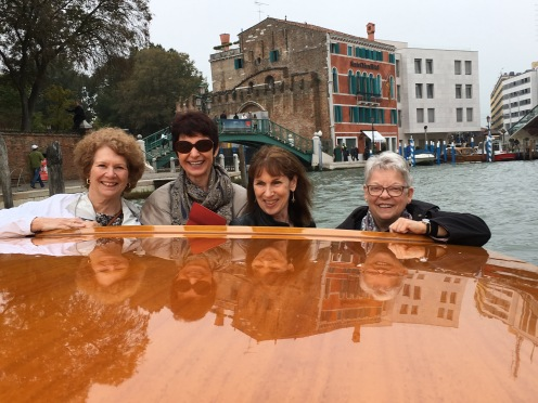 Barbara, Belinda, Debbie and Mary Lou in the water taxi