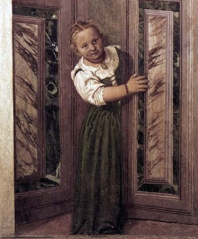 Villa Barbaro, Maser - A little girl peers round a corner