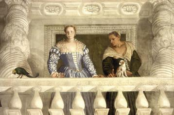 Villa Barbaro, Maser - Lady of the house - fresco by Veronese, with Cavalier King Charles dog on the balustrade. Veronese (1560s)