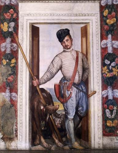Villa Barbaro, Maser - fresco detail of a young hunter, said to be a self-portrait of Paolo Veronese