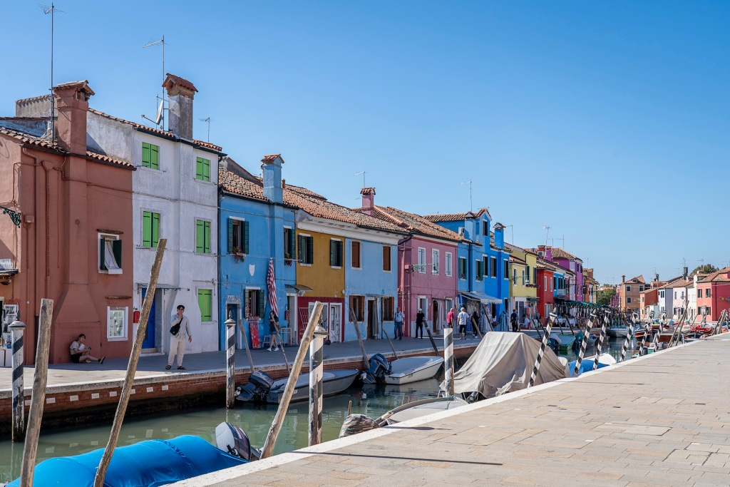 Burano - colourful houses line the canals