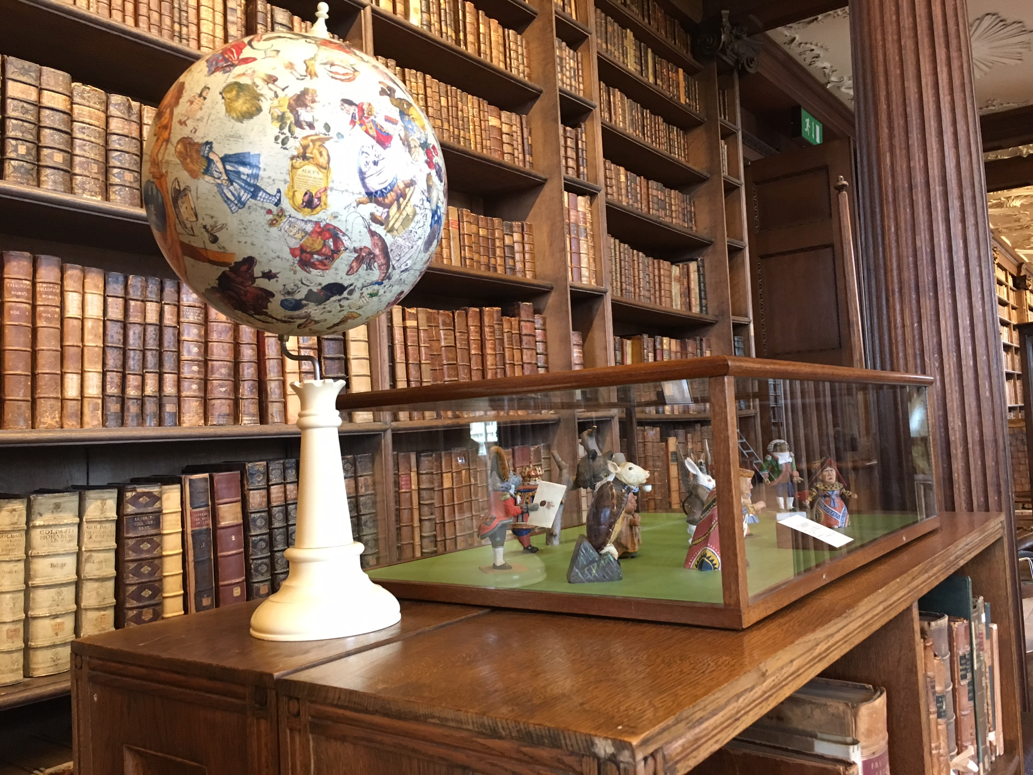 Oxford - Christ Church Library, Carroll Globe and Wonderland characters