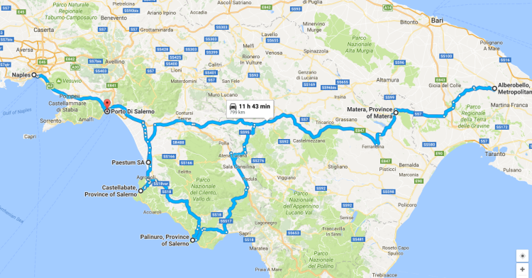 Southern Italy - map of route