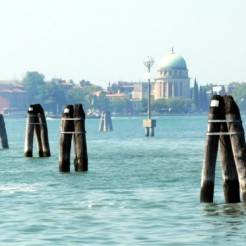 Venice Lagoon - briccole (wooden posts) mark the channels in the lagoon