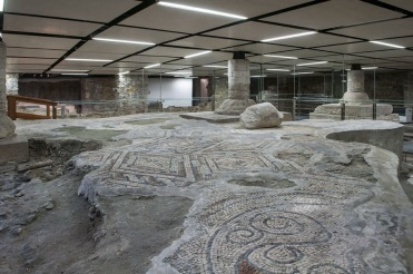Roman mosaic flooring underneath the foundations of the 11th century Campanile